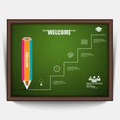 образование карандаш лестница успеха инфографики — Cтоковый вектор