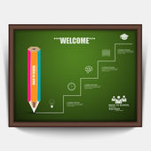 Education pencil staircase success Infographics — Stock vektor