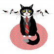 Grumpy cat in tie with birds — Stock Vector