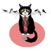 Grumpy cat in tie with birds — Stock Vector