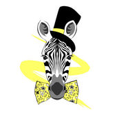 Zebra gentleman in tall hat and bow — Stock Vector