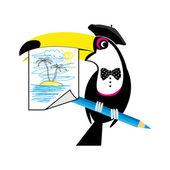 Toucan artist — Stock Vector