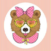 Cute Bear Girl Portrait — Vector de stock