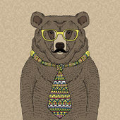 Hipster Bear in Tie and Glasses with Mustache — Stock Vector