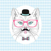 Cat Hipster with Mustache, Bowler Hat and Pink Glasses — Stock Vector