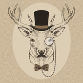 Fashion Illustration of Deer Portrait in Retro Style — Wektor stockowy