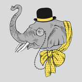 Portrait of Elephant in Bowler Hat, Monocle and Yellow Bow — Stock Vector