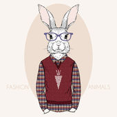 Hand Drawn Vector Fashion Illustration of Bunny Hipster — Stock Vector
