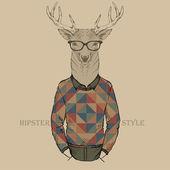 Cute fashion Hipster deer, vector illustration of deer port — Stock Vector