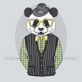 Hand Drawn Vector Fashion Illustration of Panda — Stock Vector