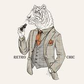 虎穿着复古风格的时装插画 — 图库矢量图片