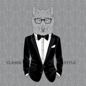Fashion Illustration of Wolf dressed in Dinner Jacket, Classic Style — Stock Vector