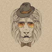 Fashion Illustration of Lion Portrait in Retro Style — Stock Vector