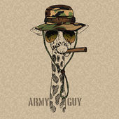 Illustration of Military Giraffe with Cigar — Stock Vector