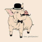 Cute Pig Gentleman in Bowler Hat and Mustache, Piggy Hipster — Stock Vector