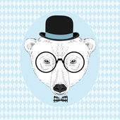 Hand Drawn Vector Portrait ot White Bear in Bowler Hat, Hipster Look — Stock Vector
