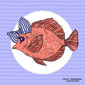 Vector illustrashion van rifvissen in gestreepte boog — Stockvector