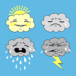 humorous meteorology, weather icon set — Imagen vectorial