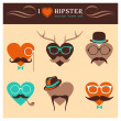Vector Heart Icon Set with Hipster Elements — Stock Vector
