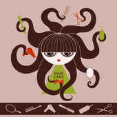 Girl with Care Hair object — Stock Vector