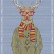 Illustration of Hipster Deer — Stock Vector