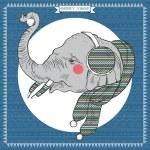 Elephant in Knitwear — Vector de stock