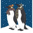Penguins in Knitted Scarfs — Stock Vector