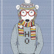 Stock Vector: Polar Bear Hipster