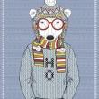 Polar Bear Hipster — Stock Vector