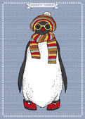 Illustration de pingouin hipster — Vecteur