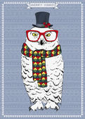 Polar Owl Hipster — Vector de stock