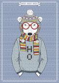 Polar Bear Hipster — Vettoriale Stock