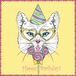 Drawn Illustration of Cat in Party Hat — Cтоковый вектор