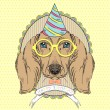 Dachshund for Happy Birthday Greeting Card — Imagens vectoriais em stock