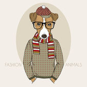 Jack Russel Terrier Hipster in colors — Stock Vector