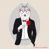 Illustration of Husky Dog in Dinner Dress — Stock Vector