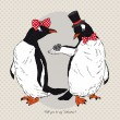 Vector Illustration of two Funny Penguins dressed in Retro Style, Valentine's Day design — Vettoriale Stock