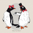 Vector Illustration of two Funny Penguins dressed in Retro Style, Valentine's Day design — Stok Vektör