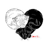 Hand drawn Illustration of Black and White Kittens sleeping in the shape of heart, Valentin Day design, Love — Stockvektor