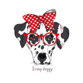 Hand Drawn Portrait of Dalmatian Girl in bow and glasses, Valentine greeting card — Stock Vector