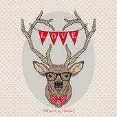 Hand Drawn Vector Portrait of St. Valentine's Deer — Stockvektor
