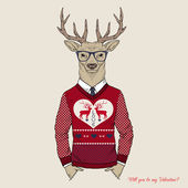 Hand Drawn Vector Illustration of Deer Hipster in Jacquard Sweater, Valentine's Day design — Stock Vector