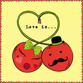 Vector Illustration of Cherry Couple, Love is — Stockvector