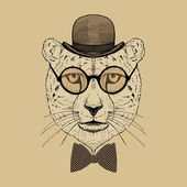 Guepard Hipster in Bowler Hat and Round Glasses — Stock Vector