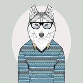 Husky Hipster in jacquard pullover — Stock Vector