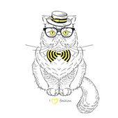 Vestido gato persa — Vector de stock