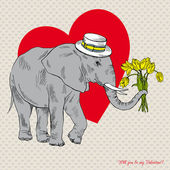 Cute elephant in hat with bouquet of tulips, romantic design — Stock Vector