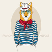 Fox Hipster in colors — Stock Vector
