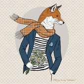 Romantic fox with flowers in hand — Stock Vector