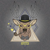 Hand Drawn portrait of hipster deer in geometric frame — Stock Vector